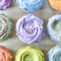 OLIVE OIL CUPCAKES WITH RAINBOW MASCARPONE BUTTERCREAM