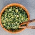 Shredded Brussel Sprout and Kale Caesar